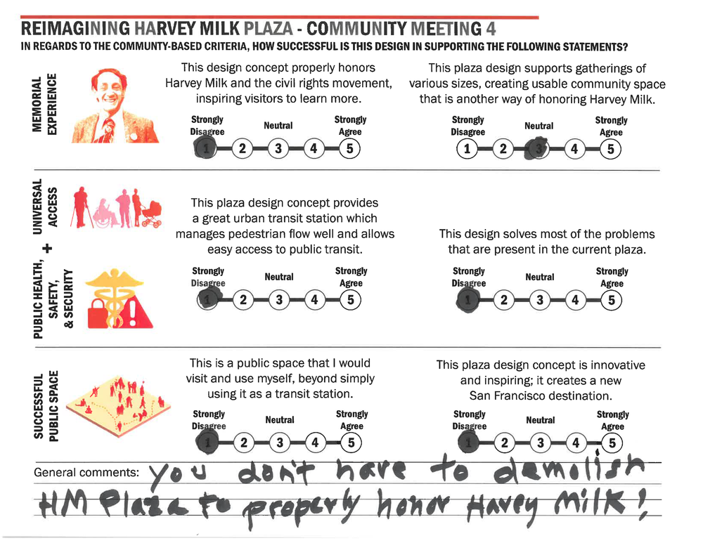 "Participant 14 General Comments Transcribed:  ""You don't have to demolish HM plaza to properly honor Harvey Milk!"""