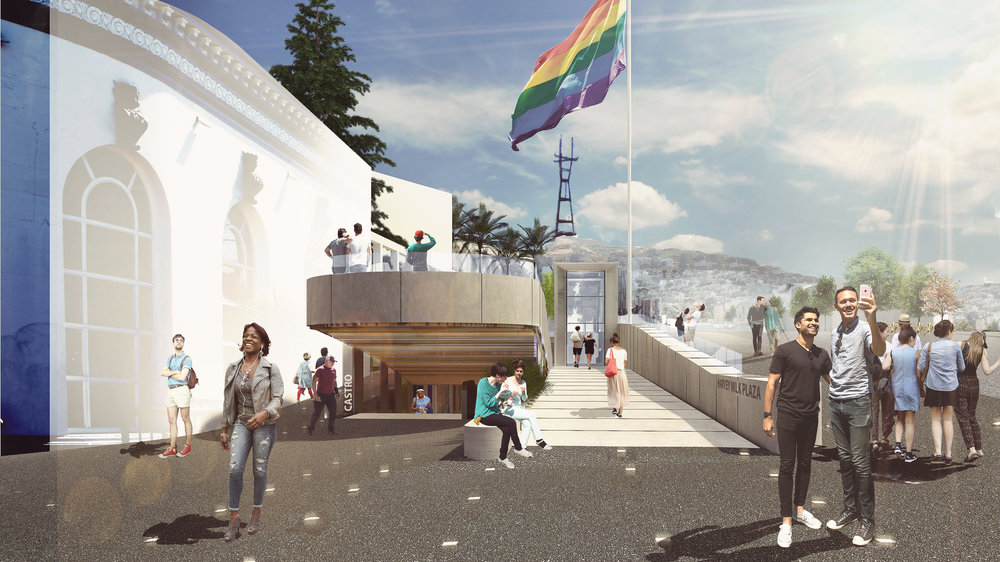 Image above:  View from the corner of Castro & Market Streets toward Collingwood Street, view of Gilbert Baker's flag, Twin Peaks and Sutro Tower and the iconic building (on the left) at 400 Castro Street.
