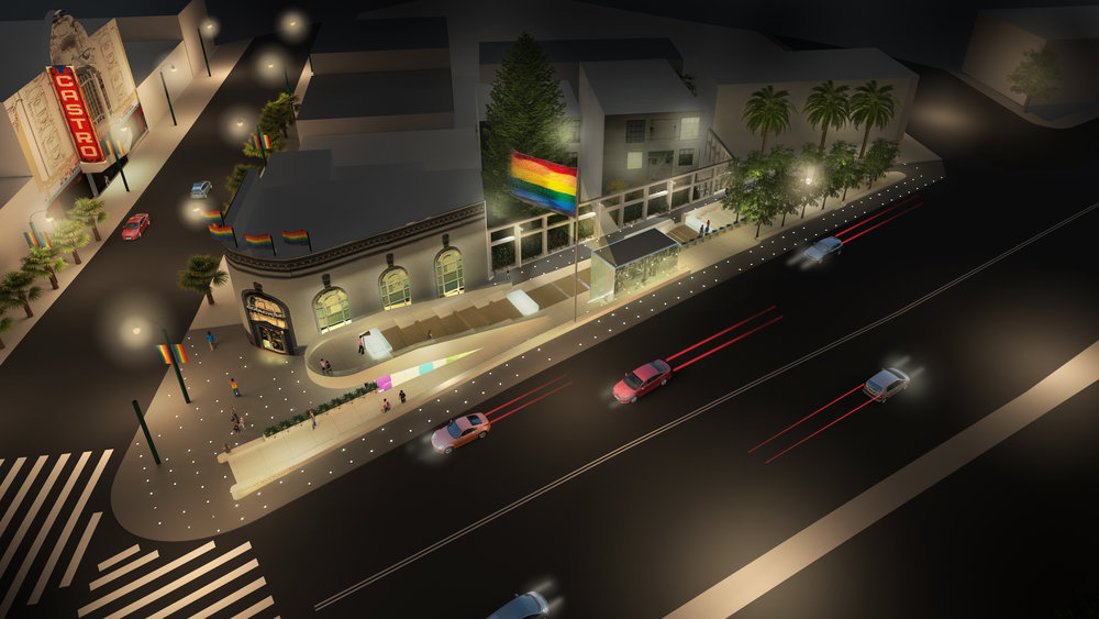 Image above:  Here is an aerial view of the plaza at night. You can see the rainbow flag illuminated above the plaza, with the memorial components glowing throughout the site, but will still allow effective gathering space, as well as commuter access at all times of day. Through these various design moves, we hope to create an efficient transit station, safe and lively plaza, and a peaceful contemplative memorial.