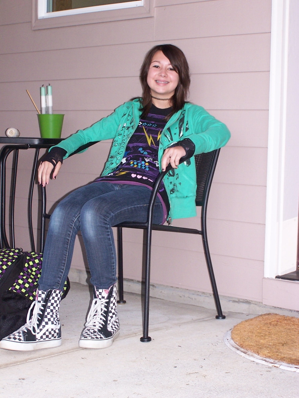 First day of school, 2008. (And a lot of patterns for one photograph.)