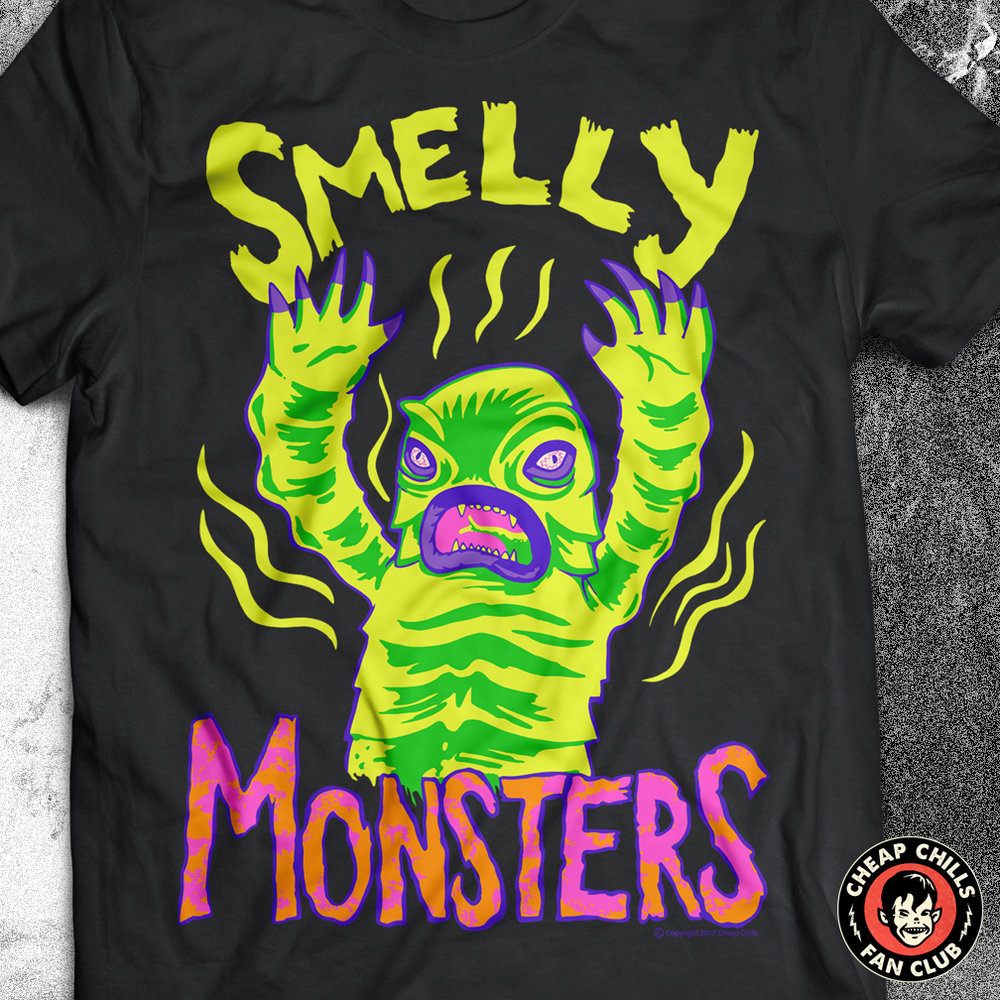 Smelly Monsters - Creature Parody T-shirt  A swamp monster from a lagoon that may or may not be black. Inspired by vintage children's halloween costumes. - Get it on Amazon.com