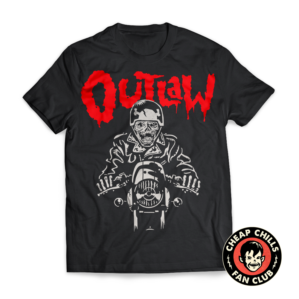 Outlaw Zombie Biker T-shirtOutlaw! Inspired by classic biker monster movies of the 60s and 70s like Werewolves on Wheels and Psychomania. Outlaw is an undead mummy, clad in leather and riding hard. - Get it on Amazon.com