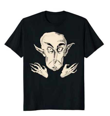 Nosferatu The Vampyre (Hoodies available too!)Inspired by Nosferatu, the classic, silent horror film about an ancient rat-like vampire who is definitely not Dracula. Print has the half-tone dotted pattern for a vintage look. - Get it on Amazon.comON A HOODIE