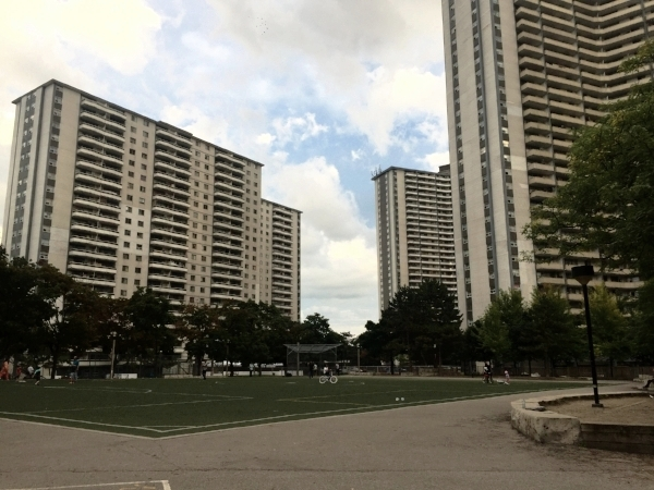 Wellesley-Parliament Square, located in the most densely populated neighbourhood in Canada, is the site of a current development proposal. 650 Parliament Street (left), 260 Wellesley Street (right), 280 Wellesley Street (centre). Photo: Jahan A., Jamhoor