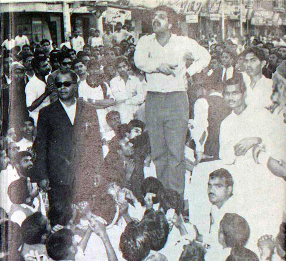 Tariq Ali addressing a workers' demonstration in Lyallpur (now Faisalabad) circa 1969. Reprinted with permission — Tariq Ali,    Pakistan: Military Rule or People's Power?
