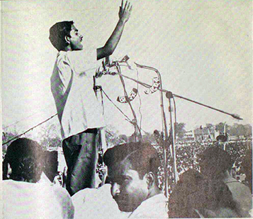 Revolutionary student leader, Mahbubullah addresses a gathering of workers, students, and peasants estimated over one million strong at the Dhaka racecourse. Reprinted with permission — Tariq Ali,    Pakistan: Military Rule or People's Power?