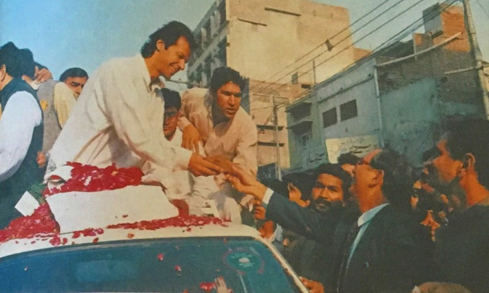 Imran Khan on his fund raising campaign for his cancer hospital in the early 90s. He stepped into formal politics a few years after retirement from cricket, through his Tehreek-e-Insaaf (Movement for Justice) party, and in 2018 became Prime Minister of Pakistan by a thin margin. Image:    Herald