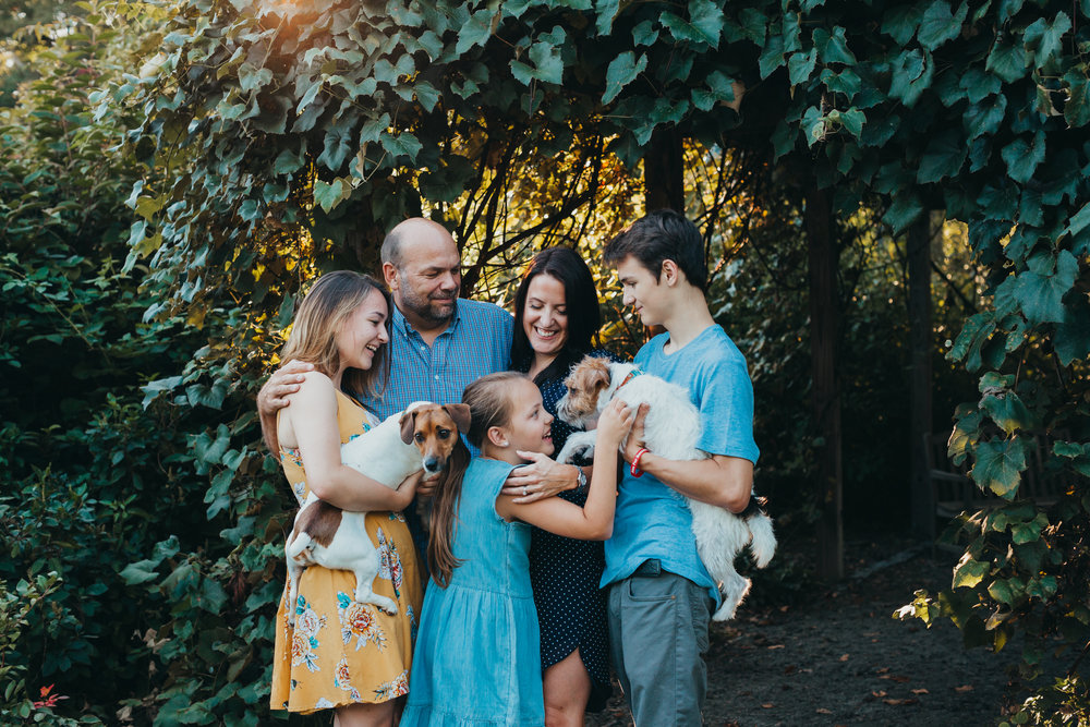 Family of five with two dogs at Acton Arboretum. Family photographer in Acton, Massachusetts.