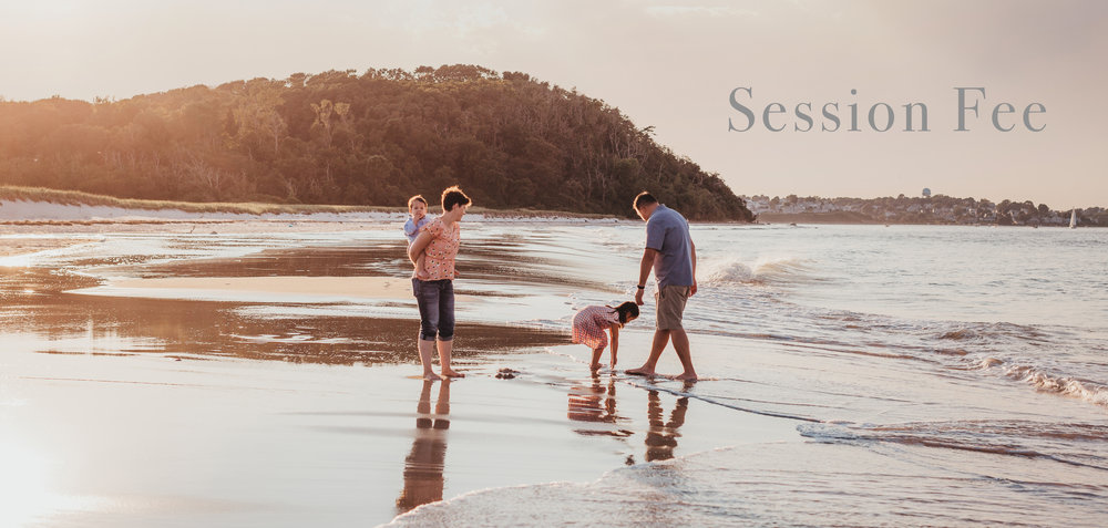 2019 session fee pricing and information for Greater Boston family pictures. Outdoor family photos. Natural light. Photo of family on Crane Beach.
