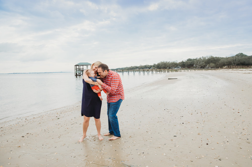 Beach photos with mom, dad, 5-month-old baby. Boston family photographer travel diary to Charleston.