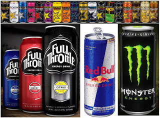 energy drinks - monster, red bull, full throttle, rock star
