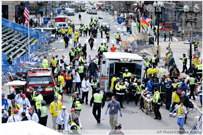 bombs explode at the finish line of the Boston Marathon