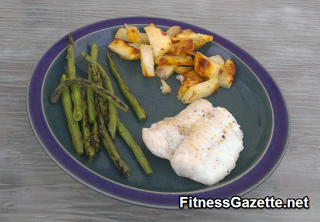 grilled cod, green beans, and red potato steak fries