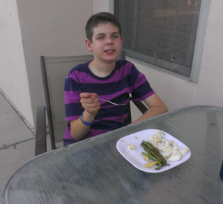 collin enjoys a fresh grilled dinner