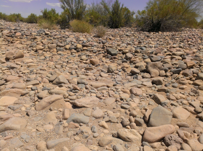 rocky riverbed in a desert wash in peoria az