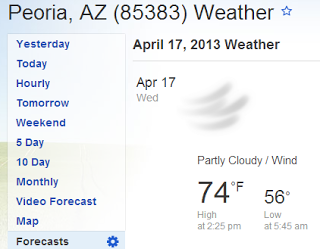 74 degrees in peoria az