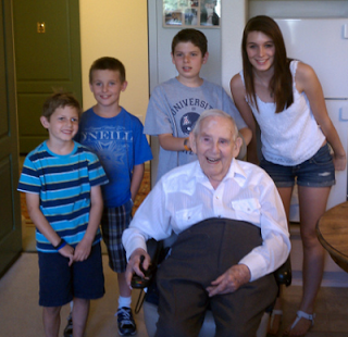 family celebrates grandpa's 102nd birthday