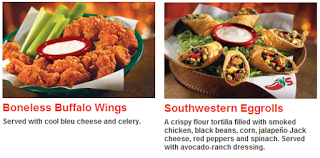 chilis boneless buffalo wings and southwestern eggrolls