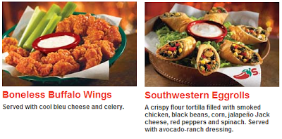 Chili's boneless wings and southwestern eggrolls