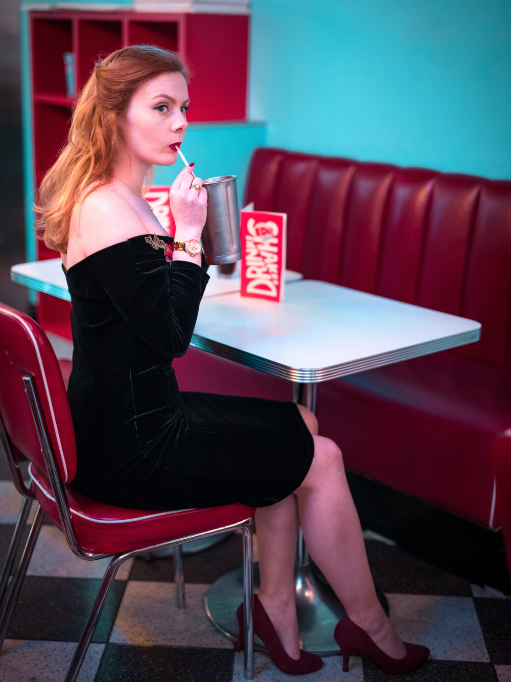 1950s Diner Portrait Eye Catching Milkshake