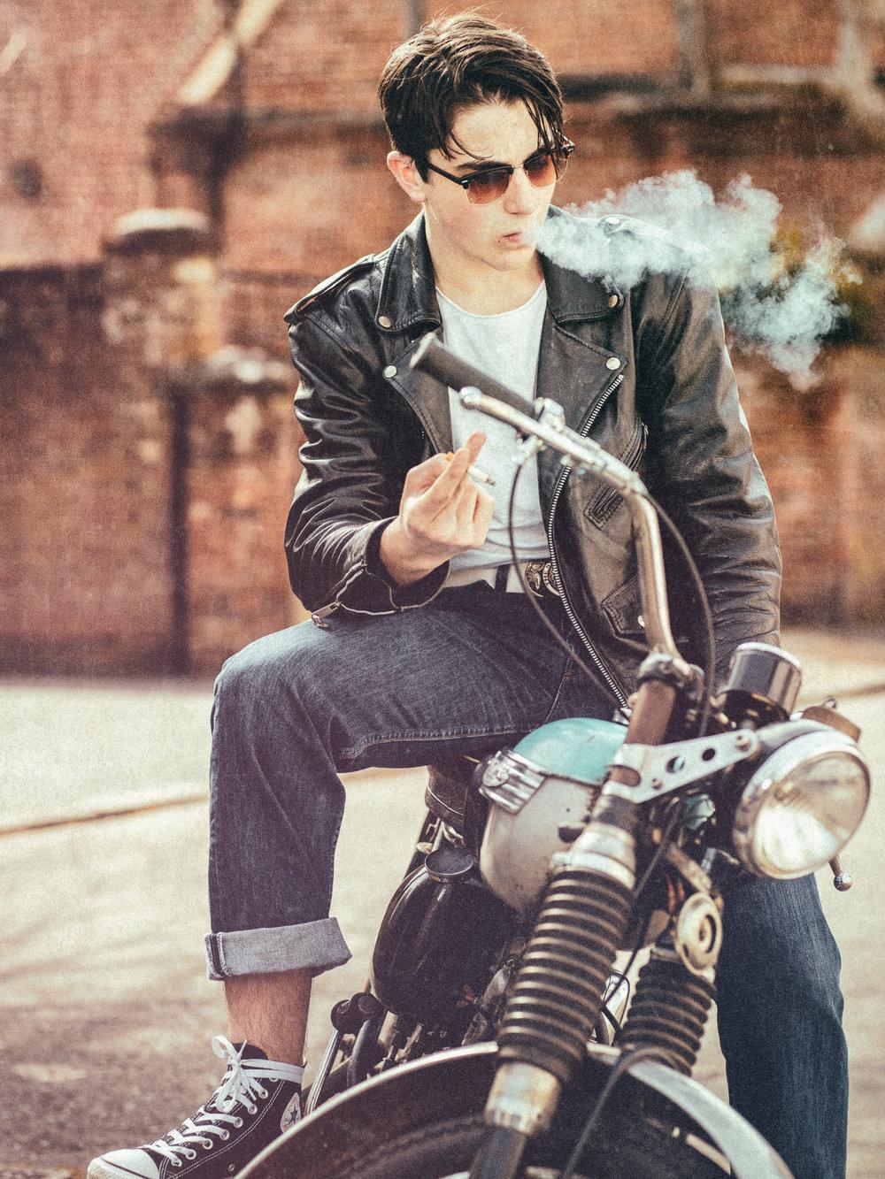 1950s Biker Portrait Smoke Break