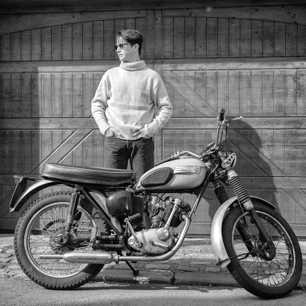 1950s BnW Biker Portrait Triumph Showcase
