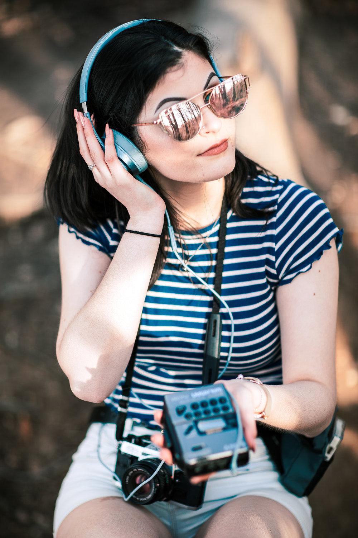 1980s Portrait Summer Beats with a Walkman