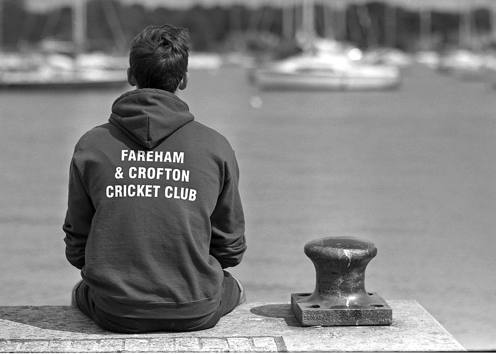 Dan wearing Fareham & Crofton Cricket Club Hoodie on Ilford XP2 Super 200