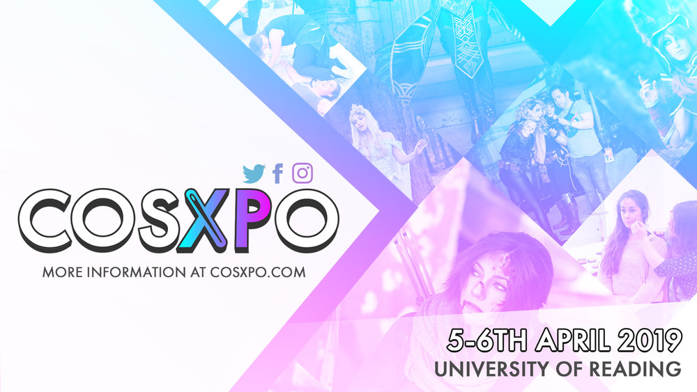 Banner for CosXPo 2019 5-6th April at University of Reading