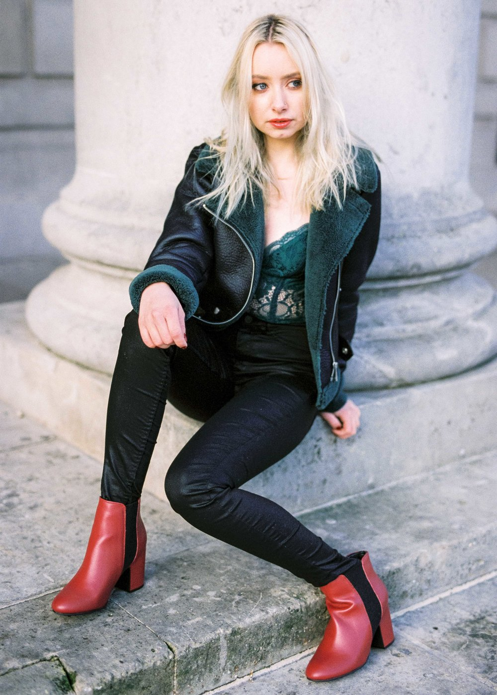 Leather Jacket, Playsuit & Leather Trousers
