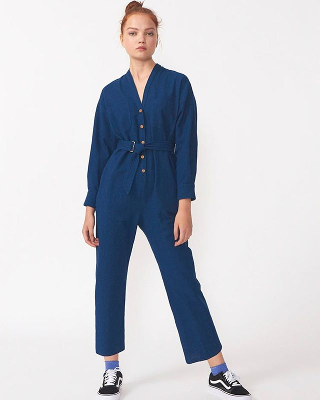 Sammo jumpsuit in Japanese brushed indigo cotton 💙 My work uniform!