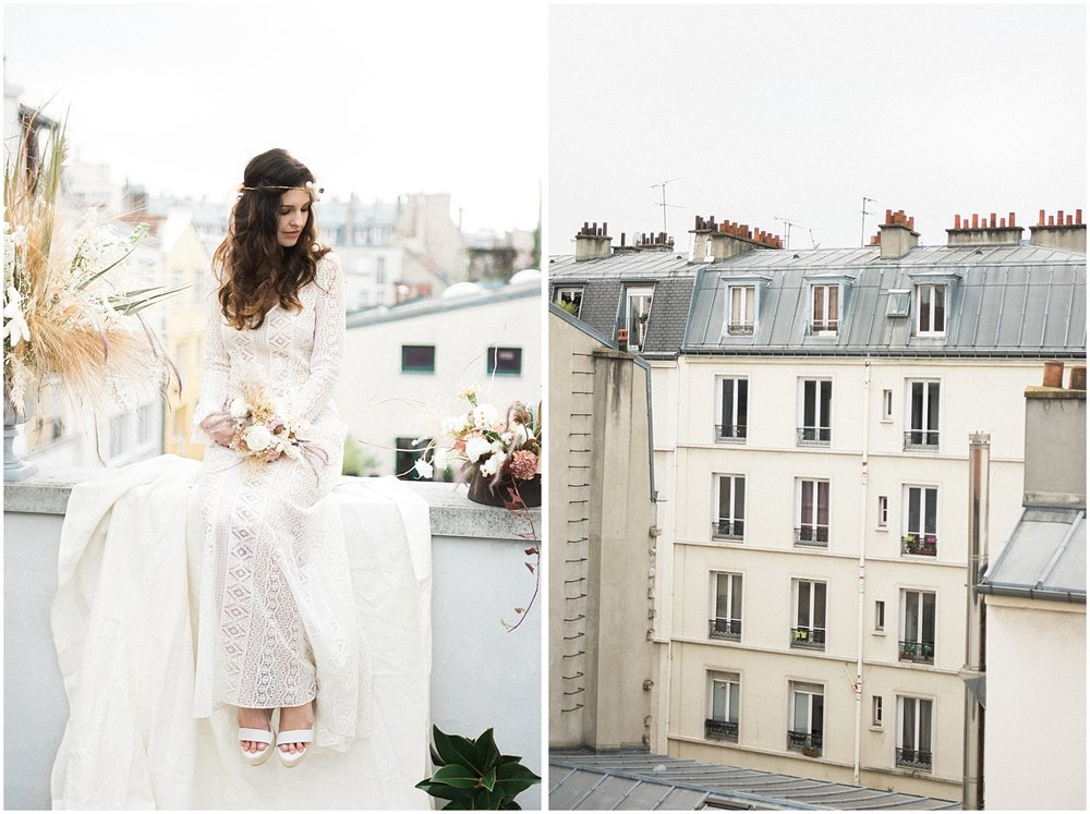 bride in the parisian rooftop