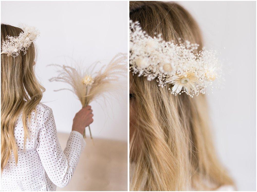 Dried flower hair crown from Atelier Prairie