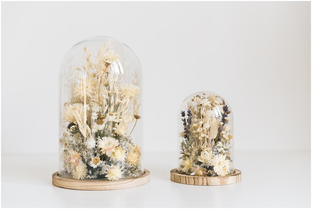 Two white dried floral bells from Atelier Prairie Paris