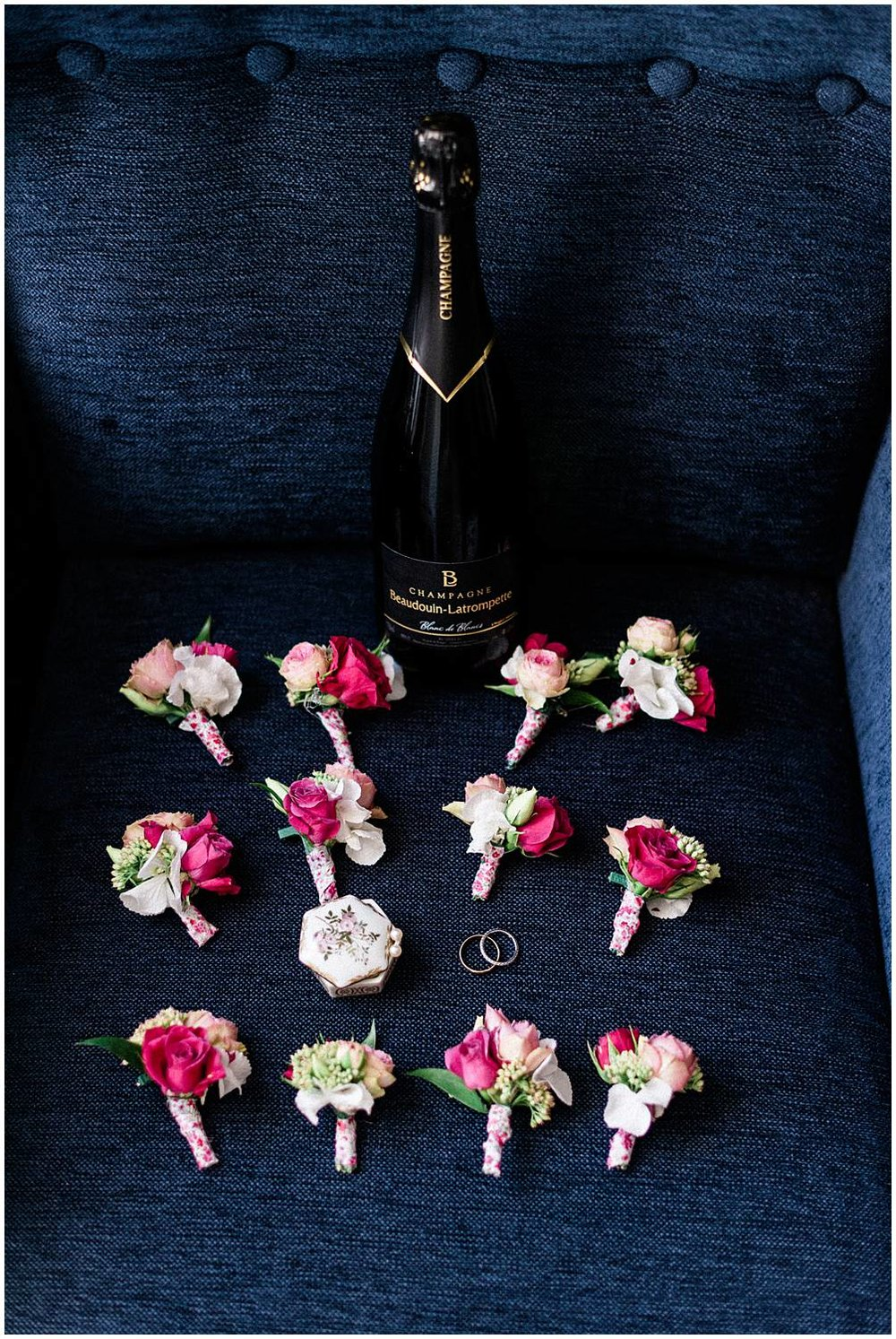 Champagne, details, rings during a wedding in Reims