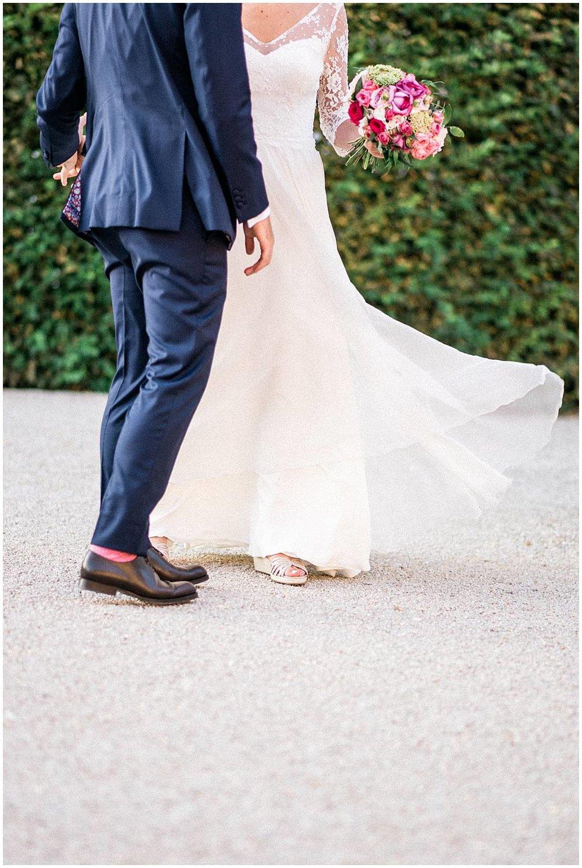 Windy bridal dress during sunset at Reims Palais de Tau
