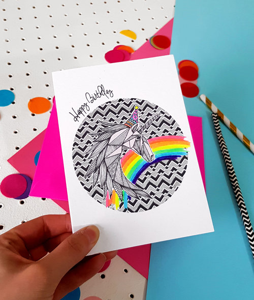 Unicorn Party Animals Handmade Birthday Card