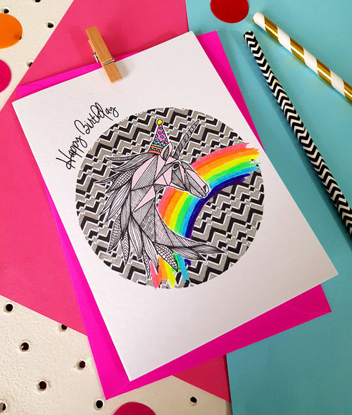 Unicorn Party Animals Handmade Birthday Card