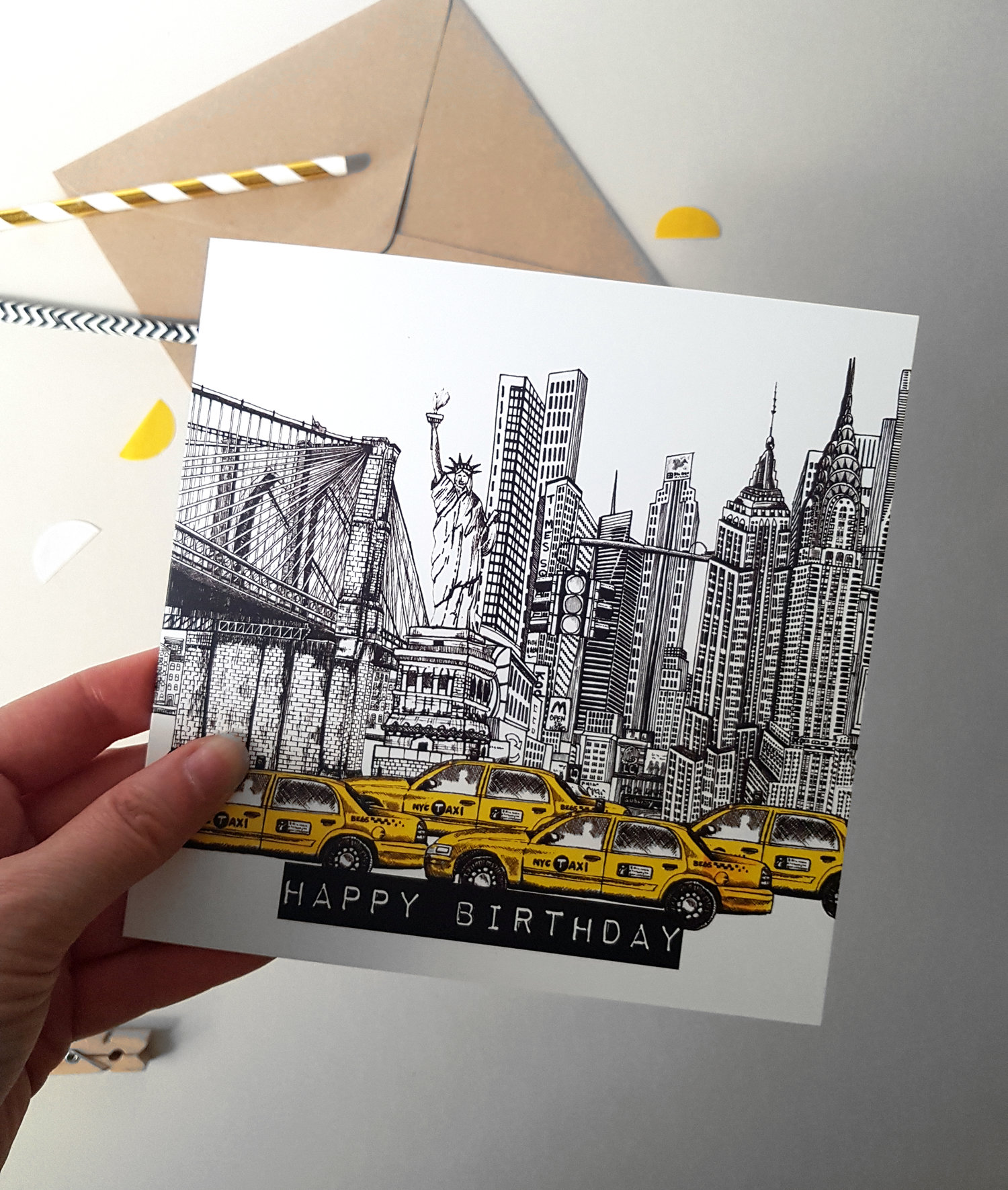 Illustrated New York Skyline Birthday Card