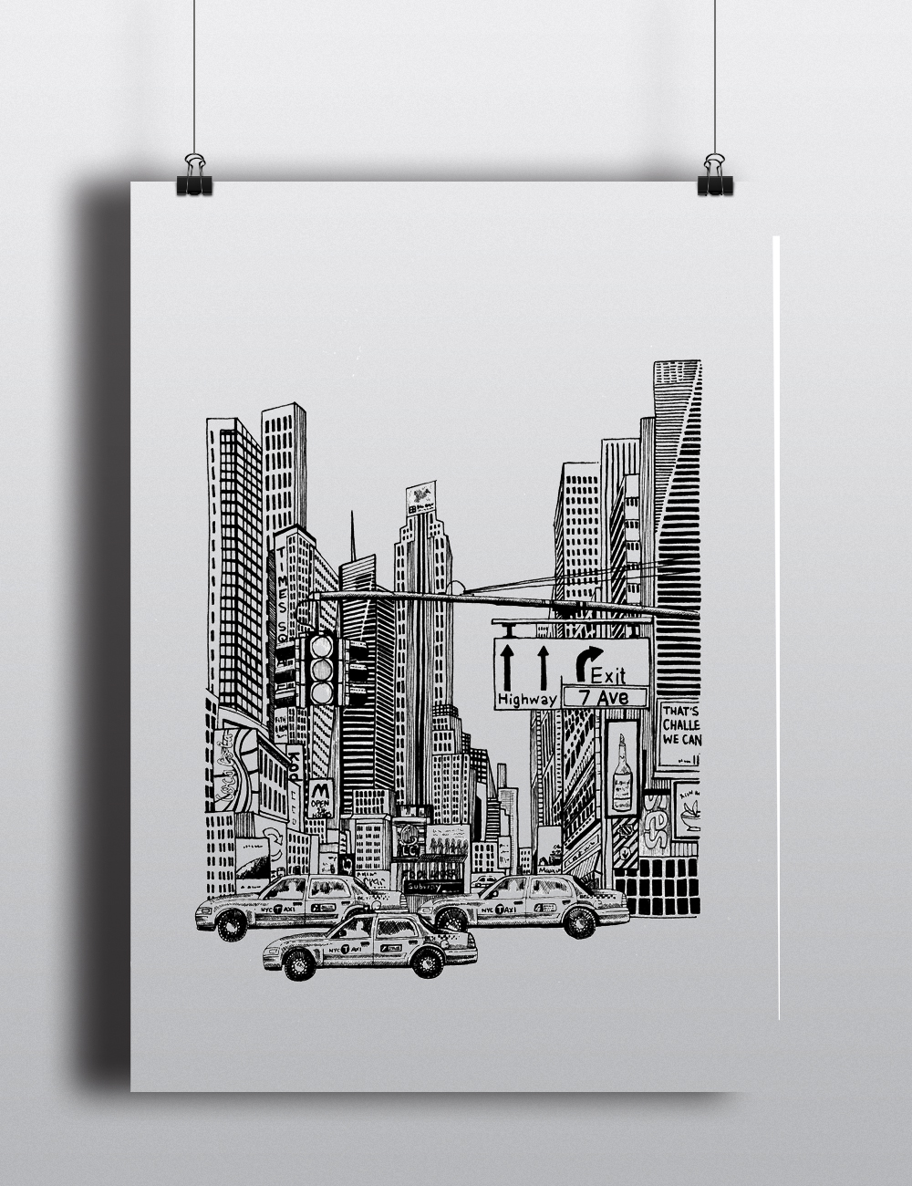 Times square nyc digital art print new york city illustration a4 a5