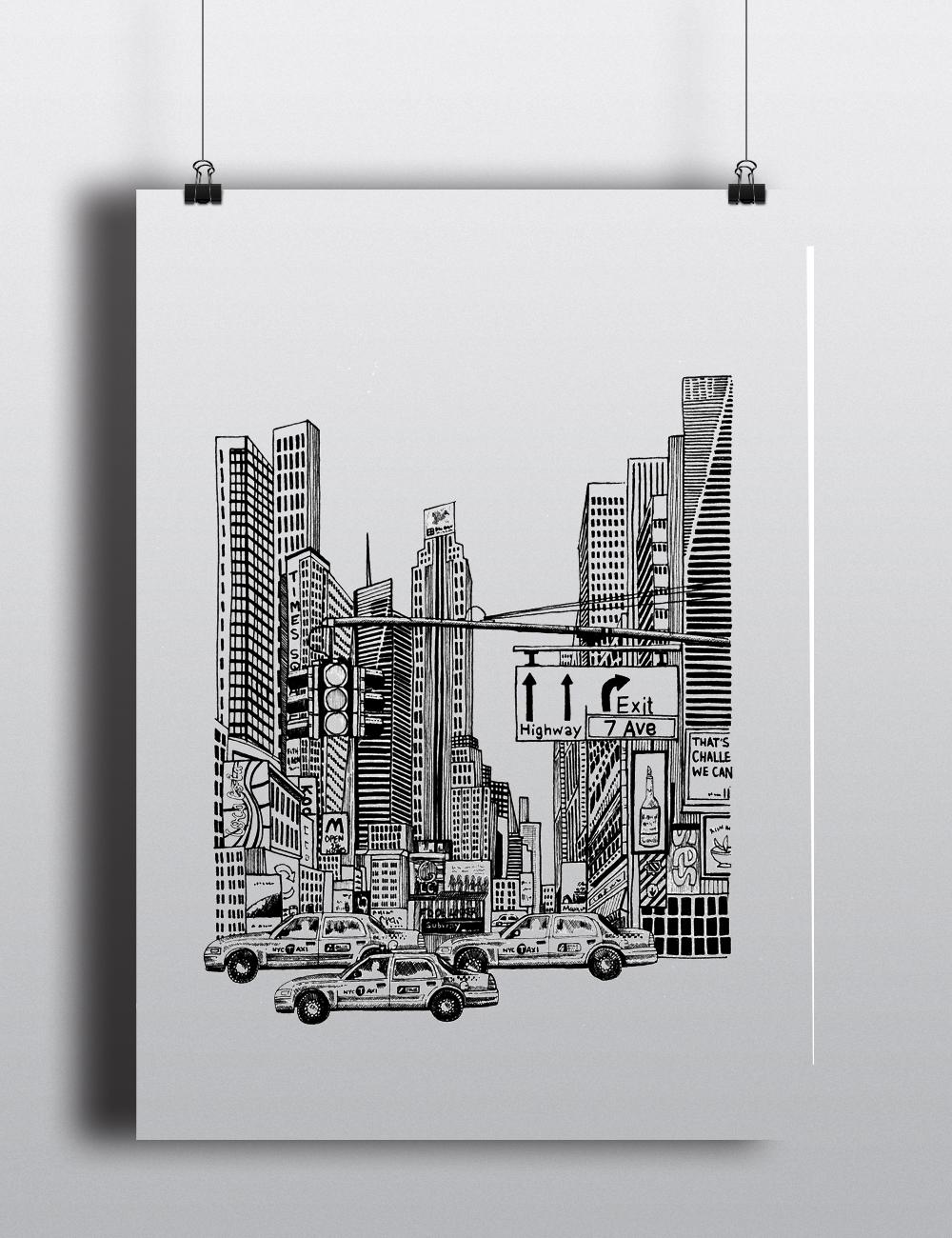 Times square nyc digital art print new york city illustration a4 a5