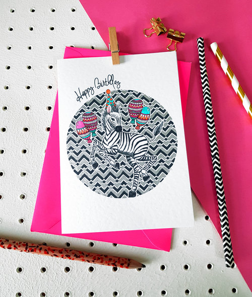 Zebra Party Animals Handmade Birthday Card Katie Clement Design