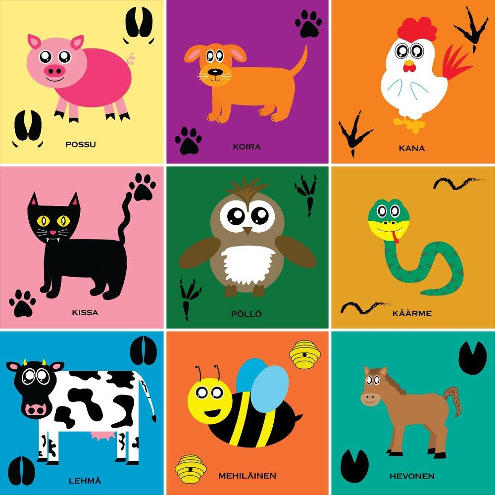 Arvaatko eläimet?  -kirjan eläinhahmoja