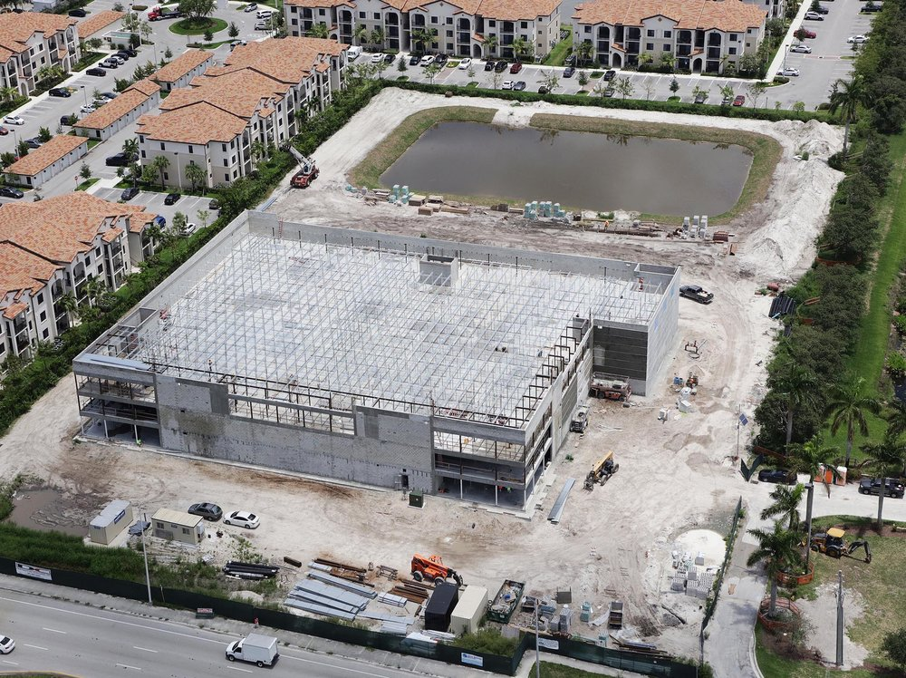 Miami City Self Storage Davie update… - Progress is moving along nicely at 5600 South University Drive in Davie on this 3-story, 117,59 SF project. Third floor framing is complete and ready to receive roof decking. Stucco is almost 100% complete with three sides of the building done. Fire sprinkler and electrical roughs are almost at completion on the 1st & 2nd floors and will be moving to the 3rd floor soon! - May 11, 2018