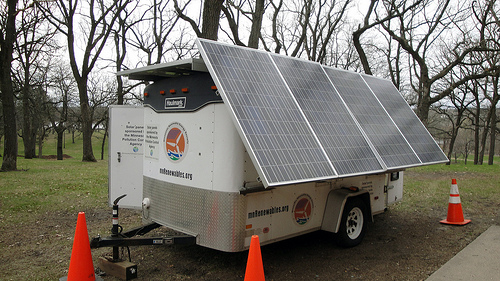 Solar Trailer - Exterior-mounted solar panels and interior battery storage allows for sustained use. Power your next event with solar energy!