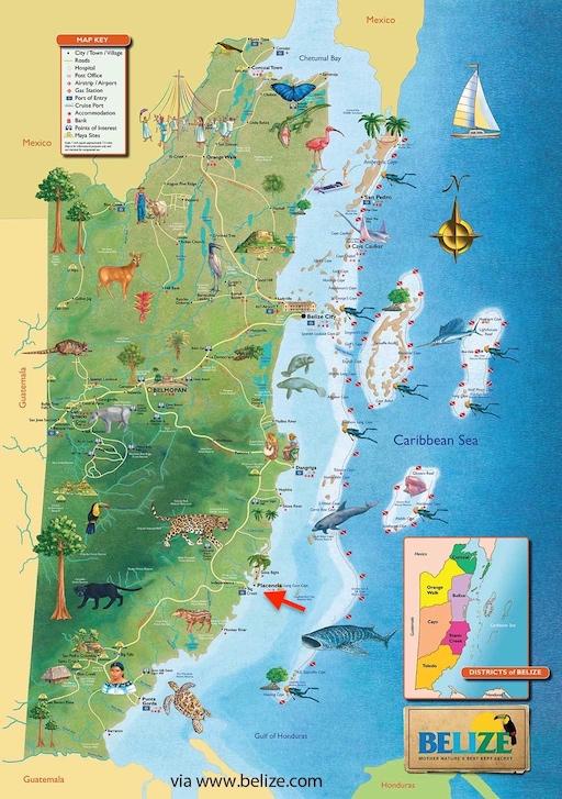 BELIZE MAP -Placencia Peninsula Location