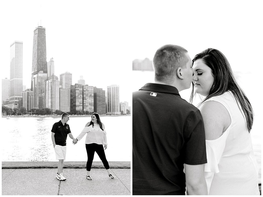 Sarah and Kevin decided they wanted to have their engagement session at Milton Lee Olive Park in Chicago and I am so happy that's where we did their photos! The skyline of Chicago was unreal from this park.