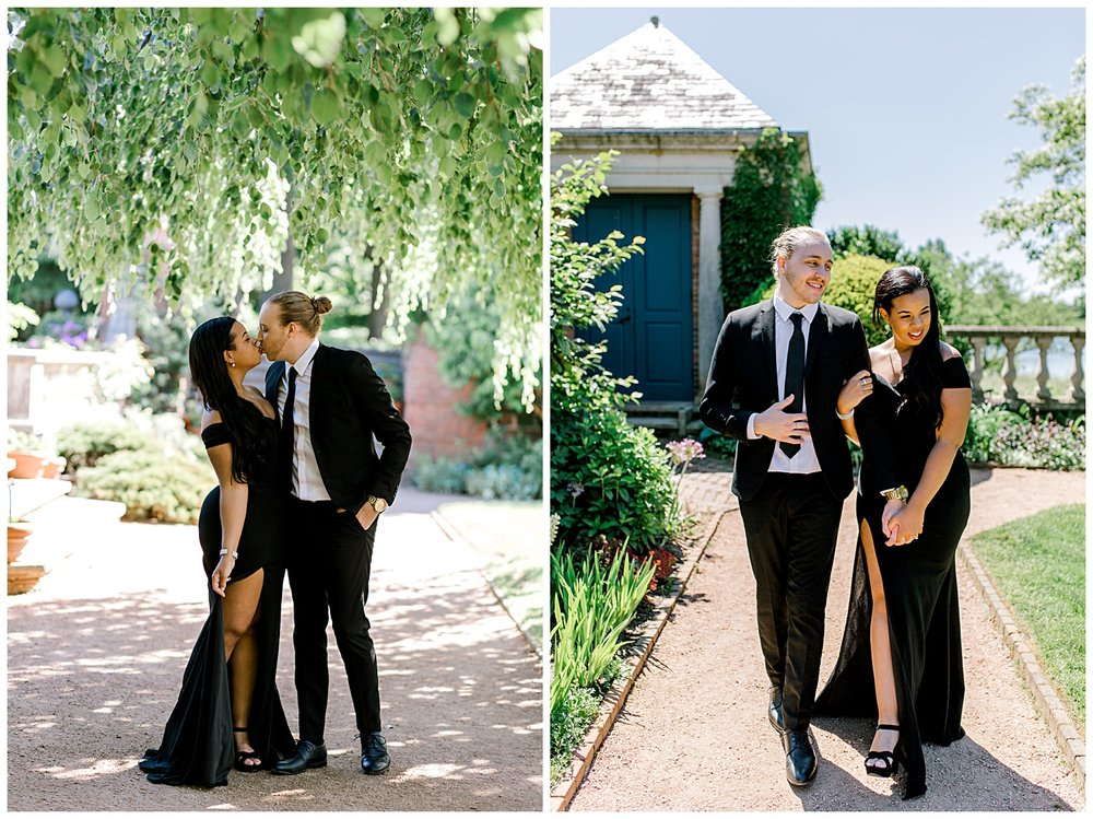 Andrew and Alexandria got all dressed up to have their engagement session for their save the date cards at the Chicago Botanic Gardens in Chicago! There were so many gorgeous locations all hidden inside the gardens!