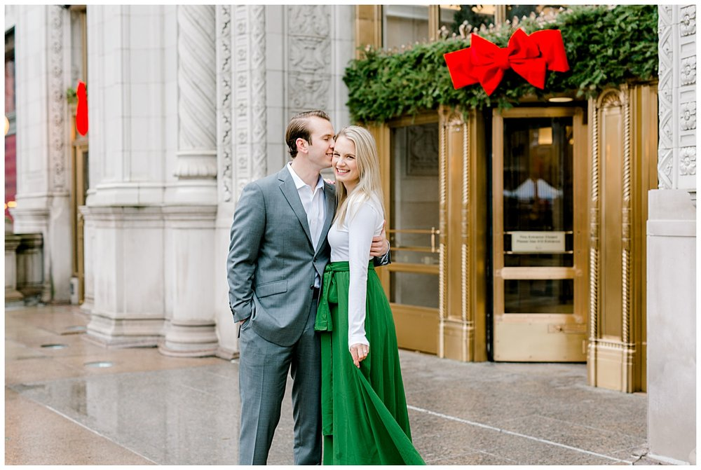 wrigley-building-chicago-illinois-downtown-engagement-session-wedding-photographer-green-dress-winter-holiday-christmas-1