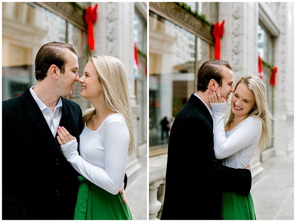 wrigley-building-chicago-illinois-downtown-engagement-session-wedding-photographer-green-dress-winter-holiday-christmas-2